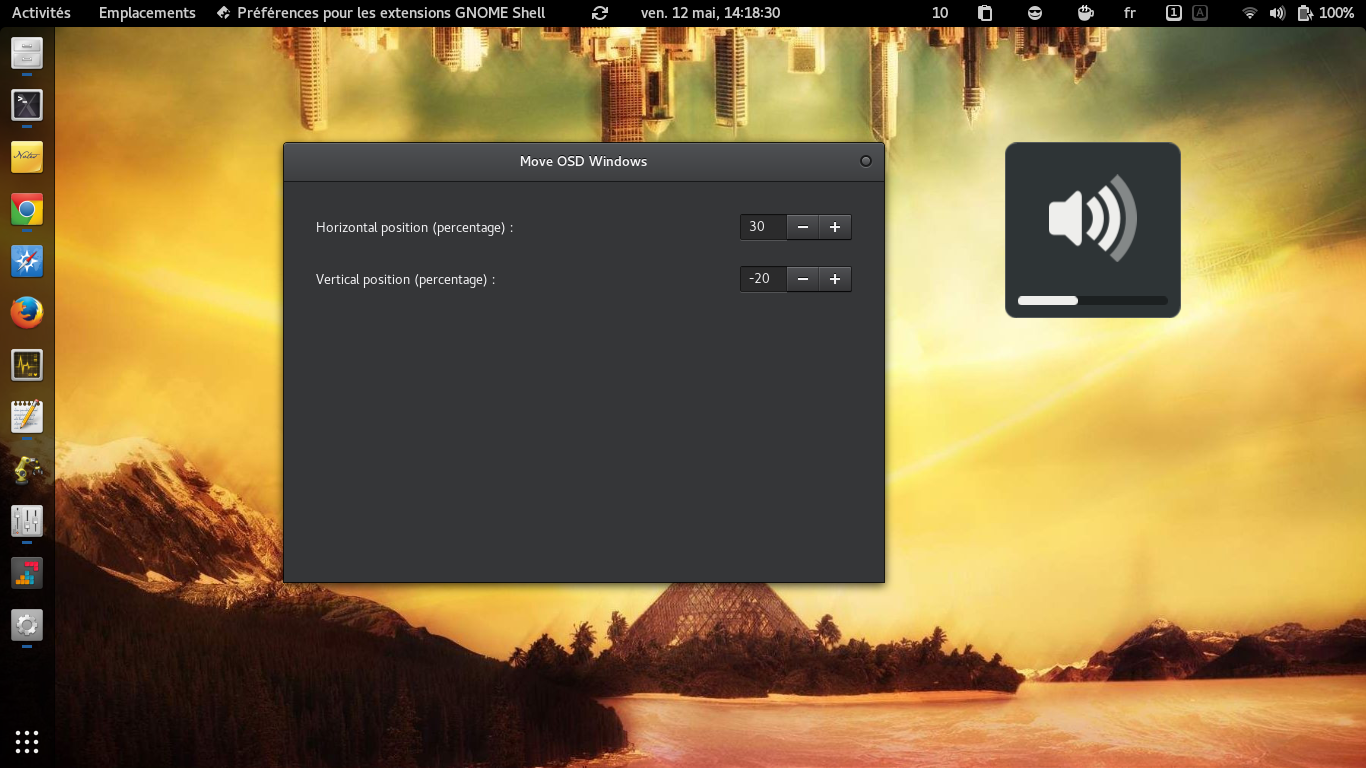 Move OSD Windows - GNOME Shell Extensions