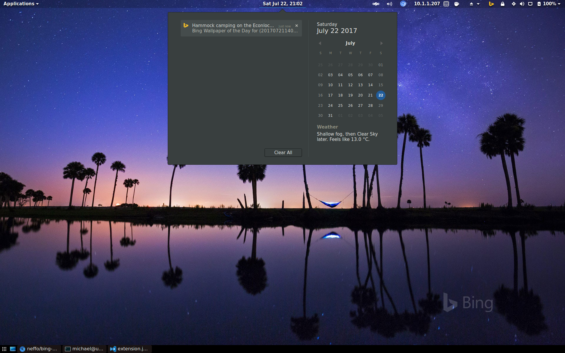 Lightweight GNOME Shell Extension To Change Your Wallpaper Every Day Microsoft Bings The Image You See When Visit Bing