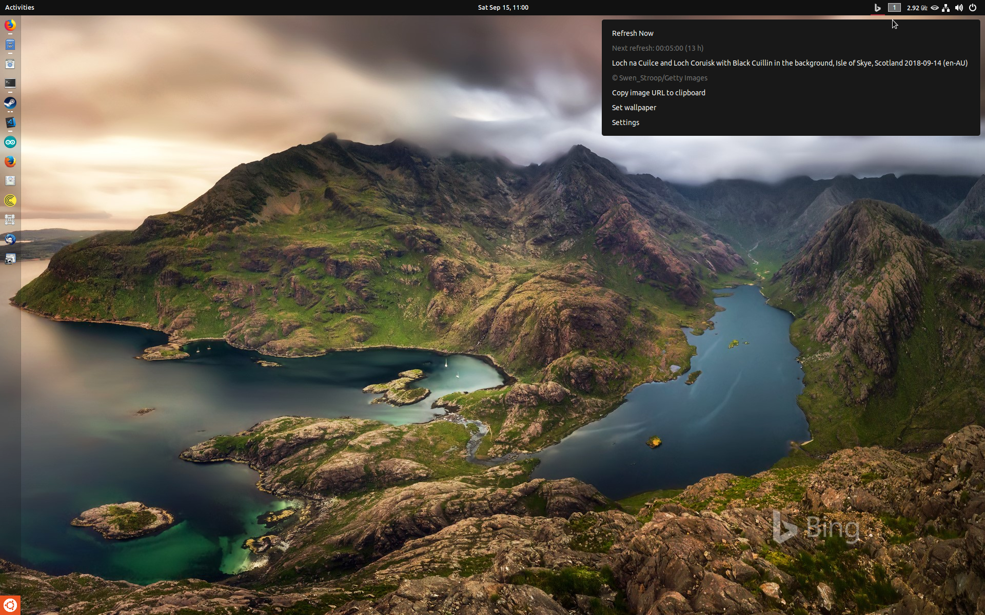 Lightweight GNOME shell extension to change your wallpaper every day to Microsoft Bing's wallpaper (the image you see when you visit Bing.com).